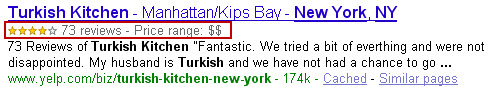 Google Rich Snippet for Turkish Kitchen NYC