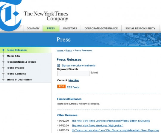 The New York Times - online press releases