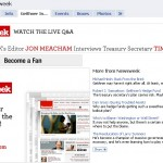 Newsweek Facebook page with Tim Geithner interview