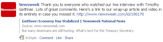 Wall update on Newsweek Facebook Page with link to video