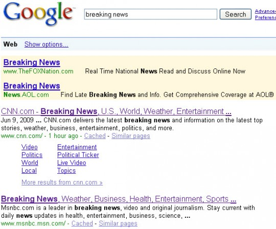 Google results for breaking news