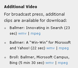 Video links in Microsoft Yahoo press release