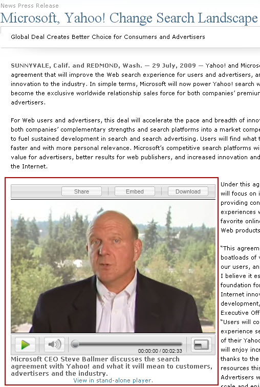 Steve Ballmer video in Microsoft Yahoo press release