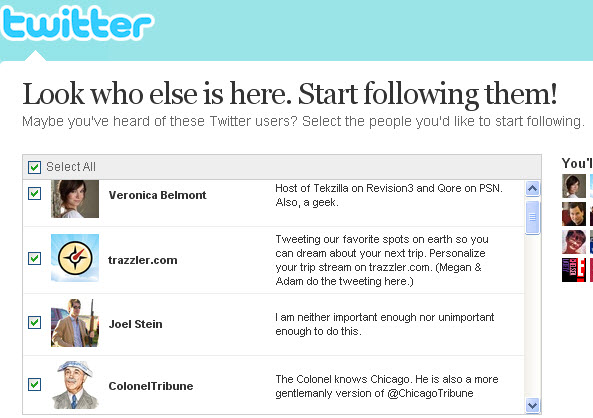 Twitter recommended profiles for new users