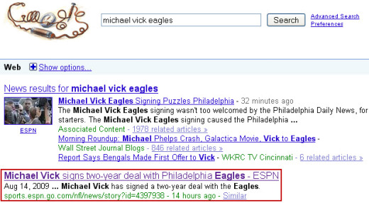 Google results for michael vick eagles