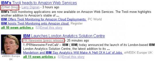 Google News genre tag