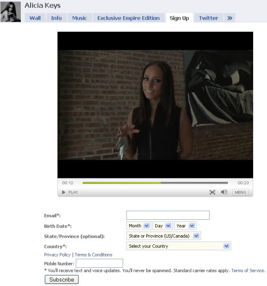 Alicia Keys Facebook Page - Mailing List Video