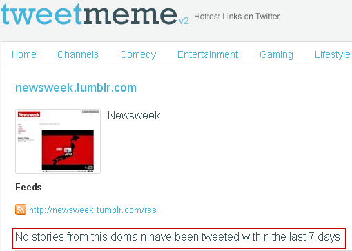 Newsweek Tumblr on TweetMeme
