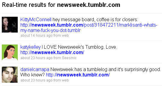 Newsweek Tumblr - Twitter real-time results