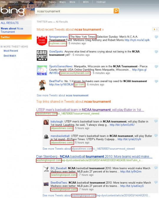 Bing Twitter tweets and top links