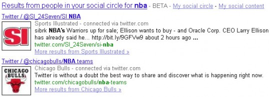 Embedded Google Social Search results