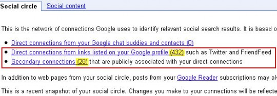 Snapshot of Google Social Circle