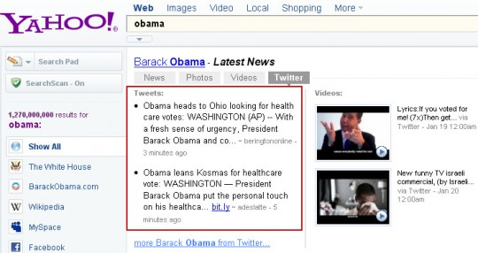 Yahoo Latest Results Twitter tab