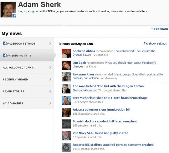 CNN.com Facebook Friends Activity