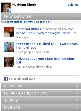 CNN.com Facebook module on home page