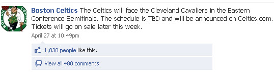 Boston Celtics Facebook page