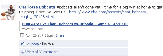 Charlotte Bobcats Facebook page