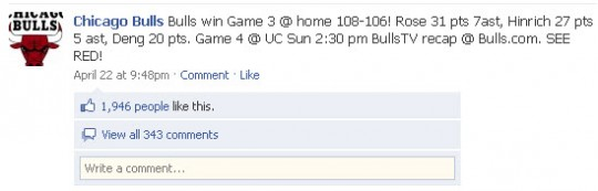 Chicago Bulls Facebook page