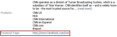 CNN Facebook Page info tab