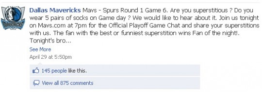 Dallas Mavericks Facebook page