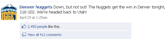 Denver Nuggets Facebook page