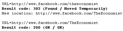 Facebook Page URL 302 redirect