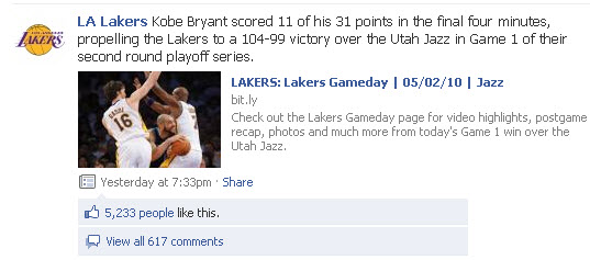 Los Angeles Lakers Facebook page