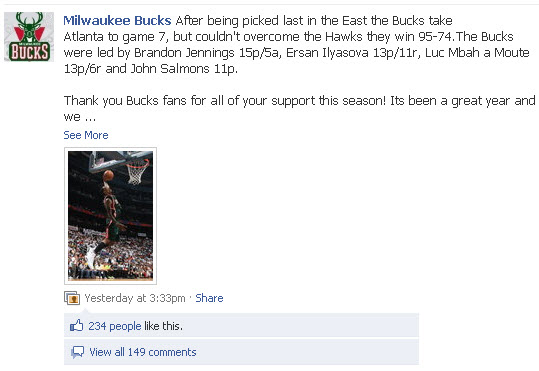 Milwaukee Bucks Facebook page
