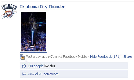 Oklahoma City Thunder Facebook page