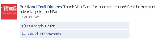 Portland Trail Blazers Facebook page