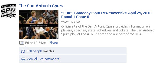 San Antonio Spurs Facebook page