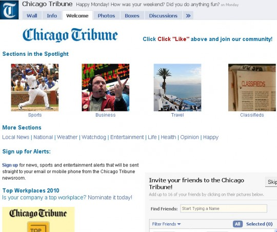 Chicago Tribune - Facebook welcome tab