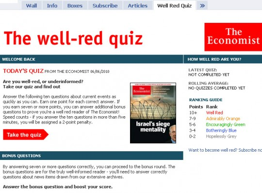 The Economist - Facebook Well-red quiz