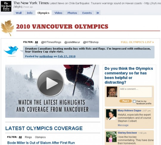The New York Times - Facebook Olympics tab