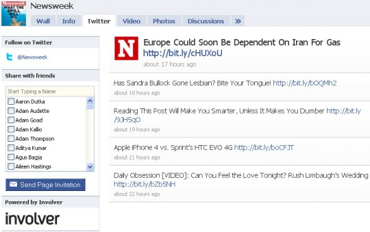 Newsweek - Facebook Twitter tab from Involver