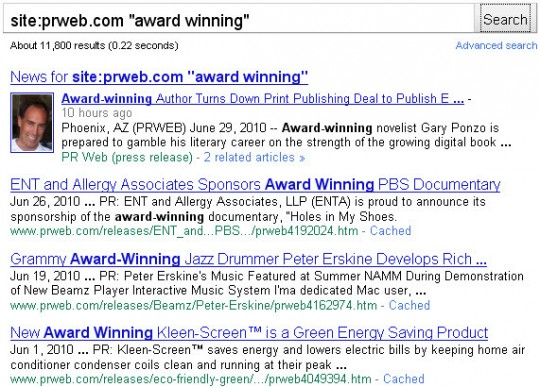 PRWeb - press releases with award winning