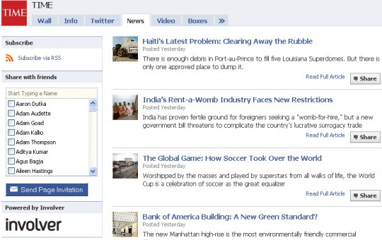 Time - Facebook news tab from Involver