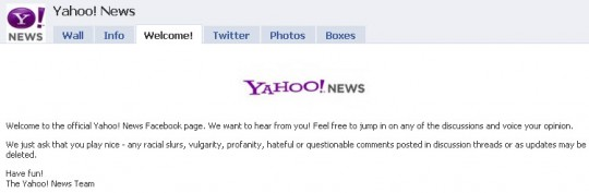 Yahoo News - Facebook welcome tab