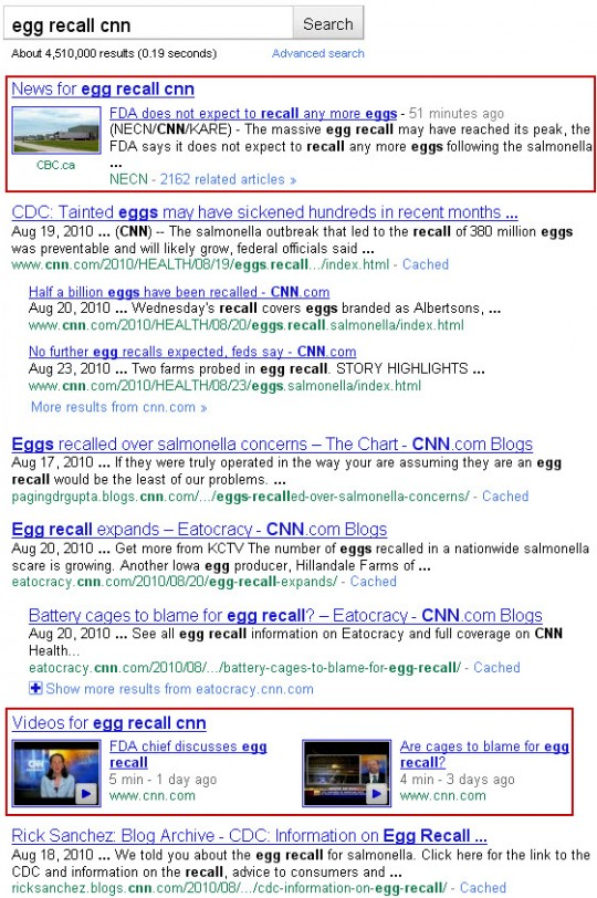 Google results for egg recall CNN