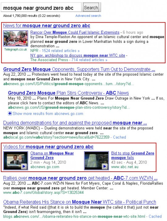 Google results for mosque near ground zero ABC
