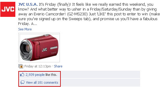 JVC Facebook sweepstakes - camcorder wall post