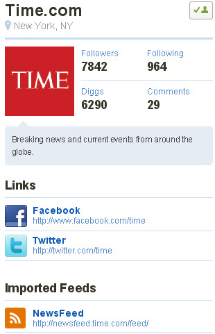 Time profile on new Digg