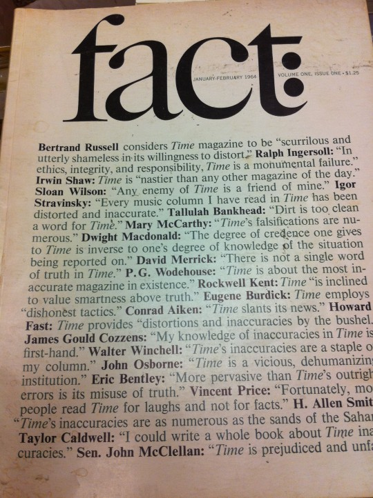 Fact Magazine cover - January-February 1964 Volume One Issue One
