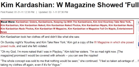 The Huffington Post - Kim Kardashian W Magazine blog tags