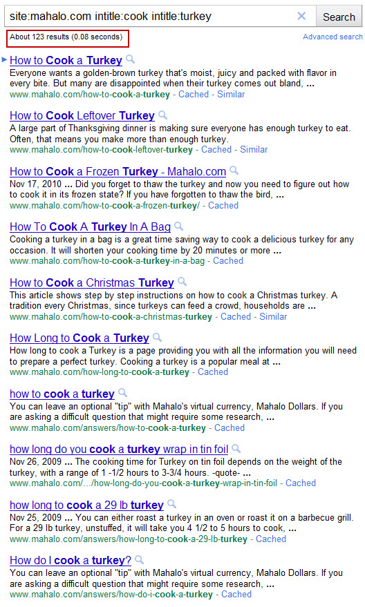 Mahalo - Google results for cook turkey