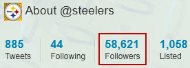 Steelers - Twitter followers