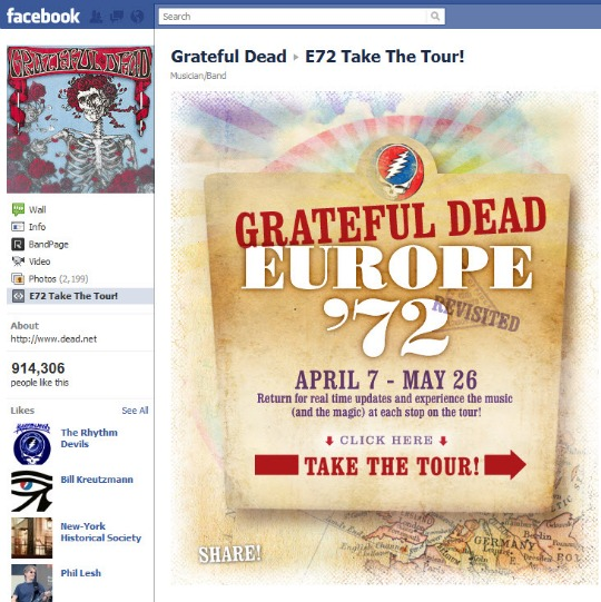 Grateful Dead Facebook Page Europe '72 promotion