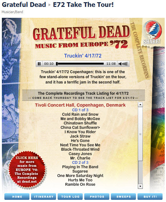 Grateful Dead Facebook page live music