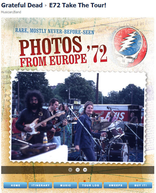 Grateful Dead Facebook page Europe '72 photos