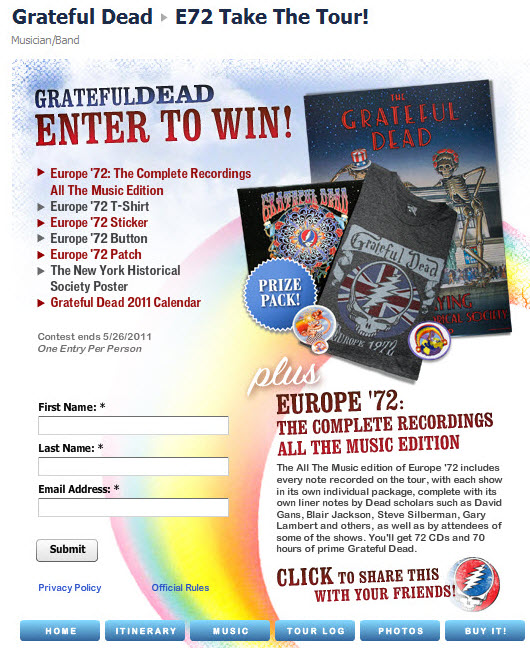 Grateful Dead Facebook page Europe '72 sweepstakes